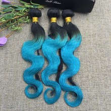 Full Shine 3 Bundles Brazilian Body Wave 100 Human Hair Sew in Extensions 1B teal Color