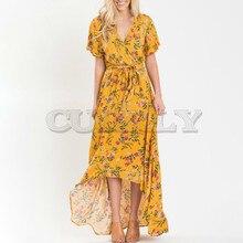 Cuerly 2019 Summer Short Sleeve Wrap Maxi Dress Boho Elegant Floral Print Women High Waist Slim Holiday Beach Long Dresses