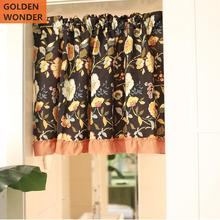 American style Retro Cotton Curtain Half Door Cabinet Basin Decorative Short Ready Made Chinese