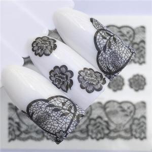 Image 2 - YZWLE 2020 été nouvelle dentelle fleur Design autocollant à ongles décalque transfert deau blanc noir conseils femmes maquillage tatouages