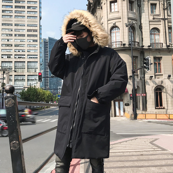 2019 Autumn and Winter Men's Long Black Cotton coat Loose Large Pocket Hooded Fur Collar Solid Color jacket More size M-XXL
