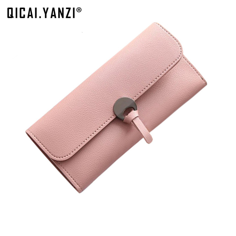 QICAI.YANZI 2017 Women Tie Hasp Long Wallets Candy Color 2 Fold Coin Purses Lady Casual Clutch Wallet Phone Card Holder Z620 casual weaving design card holder handbag hasp wallet for women