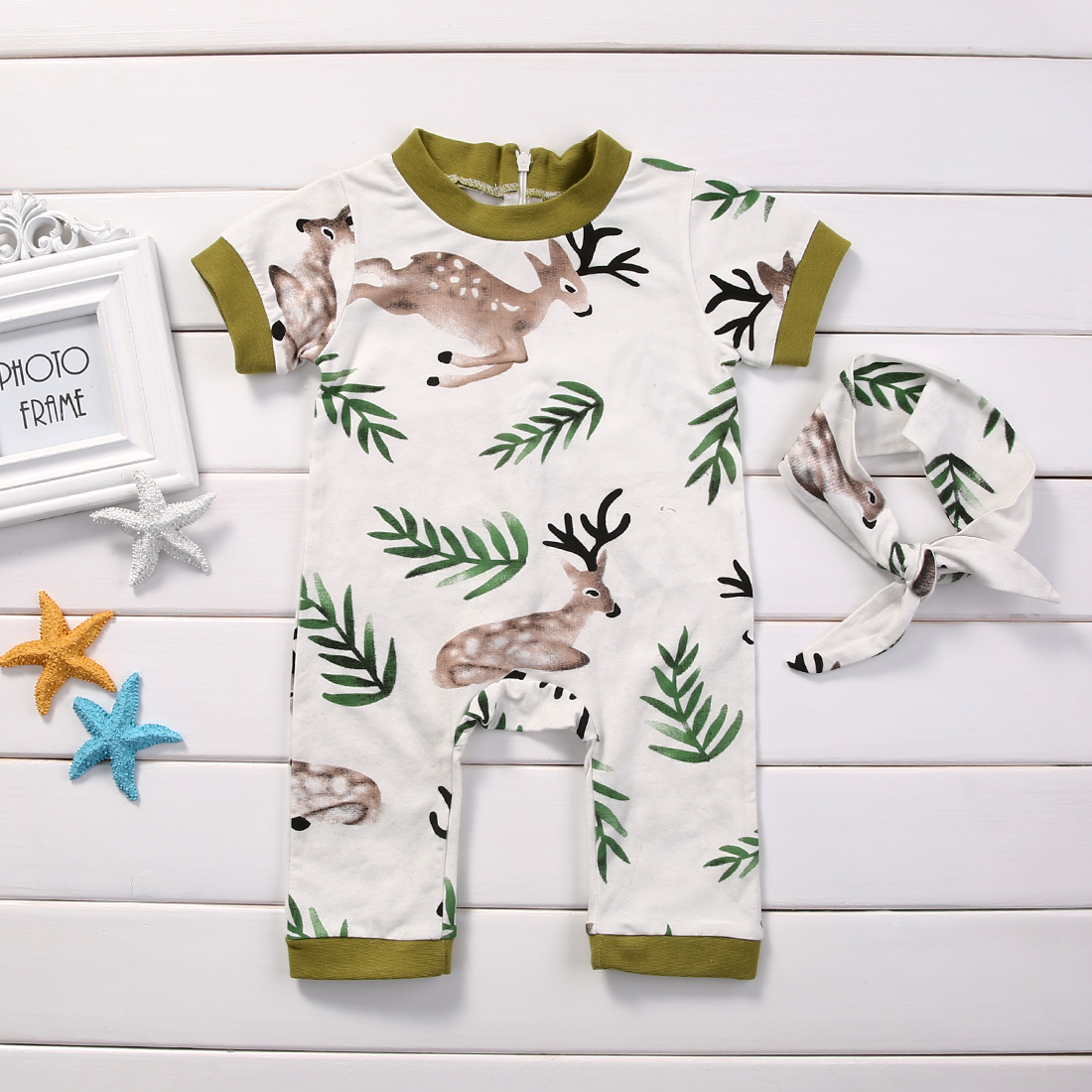 2pcs Baby Set Newborn Infant Baby Girls Boys Clothes Summer Short Sleeve Deer Leaf Back Zipper Jumpsuit Romper+Headband Baby Set des petits hauts