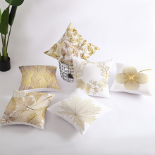 Nordic Style golden leaf-pattern cushion cover for sofa White printed Polyester decorative pillows Square home decor pillowcase