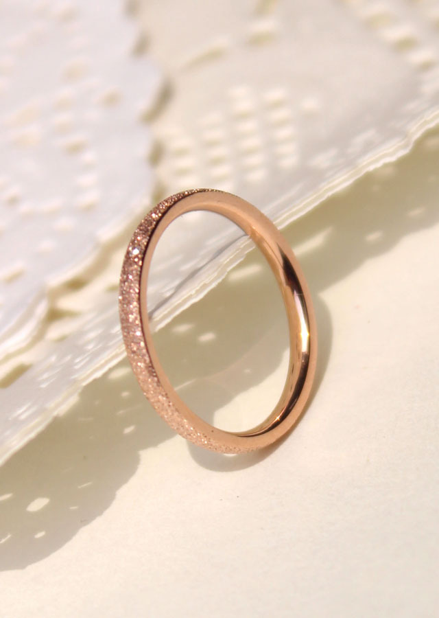 female titanium plated rose gold CZ crystal ring fashion lovers wedding gift,Never fading Grind arenaceous ring