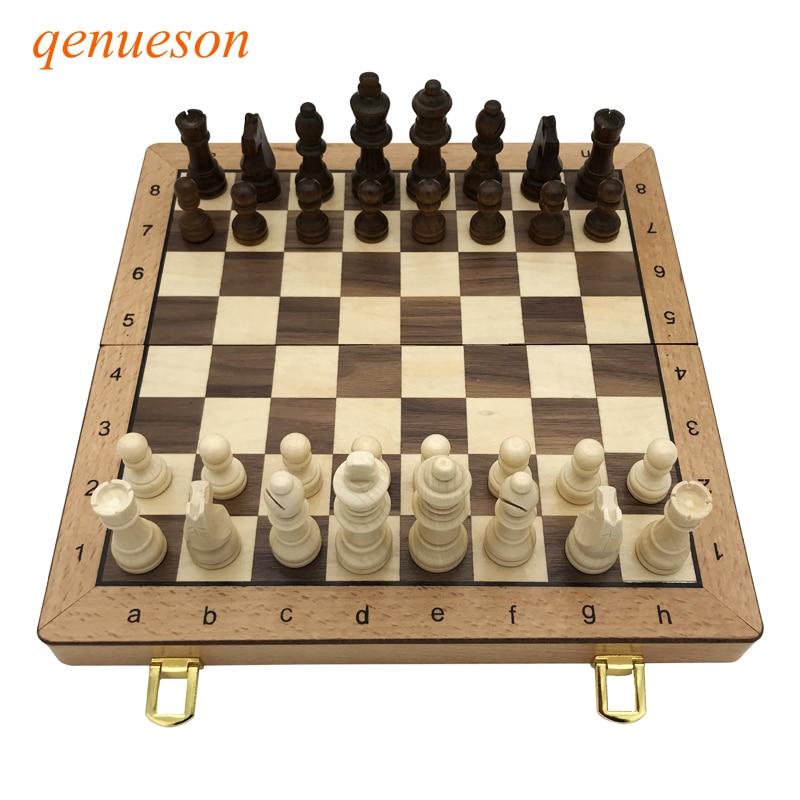 Nouveau haute qualité pliant magnétique en bois échecs enfants cadeau artisanat multifonctionnel ensemble pièces intéressant Backgammon jeu de société