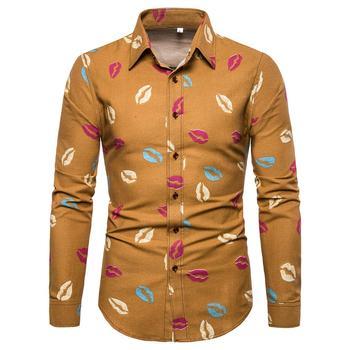 Hawaiian Shirt for Men Fashion lip print Linen Slim Fit Long-sleeved Casual Men Shirts Dress Blouse Men men lion print high low blouse