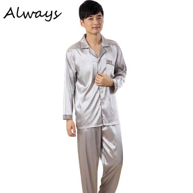 Men Solid Silk rewear V-neck Comfortable Pajamas Suits  Homewear Long Sleeve Sleepwear