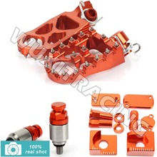 ORANGE New CNC Footpegs Bling Kits M4X0.7 Fork Air Relief Bleeder Valves fit for KTM SX 65 13 2013