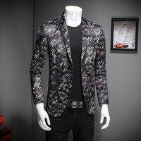 Для мужчин S цветочный пиджак Slim Fit бархат Пиджаки для женщин Винтаж костюмы для выпускного для Для мужчин Однобортный Повседневное jaqueta