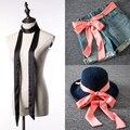 La primavera y el otoño ultra larga bolsa pequeña bufanda de seda bufanda cinturón de lazo negro del todo-fósforo del color sólido bufanda femenina cuello de sarga bufanda