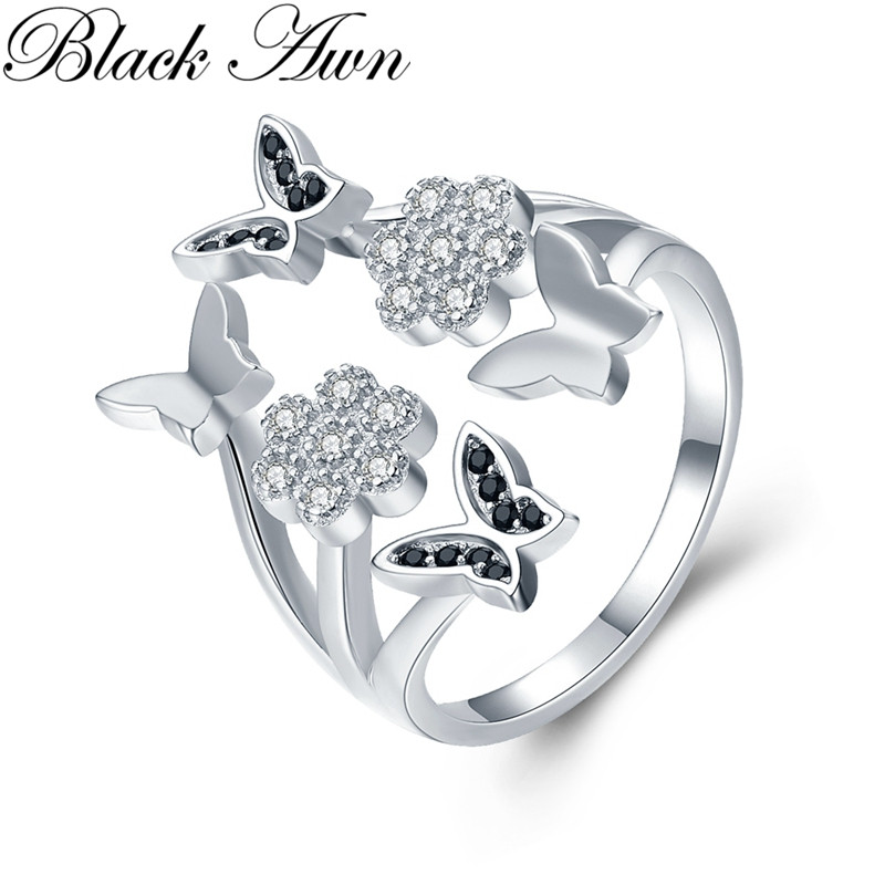 Cute 4.1g 925 Sterling Silver Fine Jewelry Butterfly Engagement Black Spinel  Engagement Open Rings For Women G028