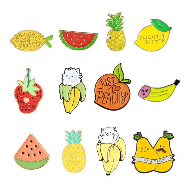 Pesta Buah Pin Pear Pach Semangka Pisang Orange Lemon Strawberry Makanan Bros Buah Lapel Pin Buah Perhiasan