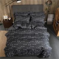 Gray Eyelash Baby Bedsheet Pillowcase Polyester Fabric Duvet Cover Sets Bedlinen Twin Double Queen King Size Bedding Set Soft