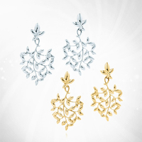 TIFF 1:1 s 925 sterling silver zircon earrings gold leaf multicolor fashion trend women's fresh European style