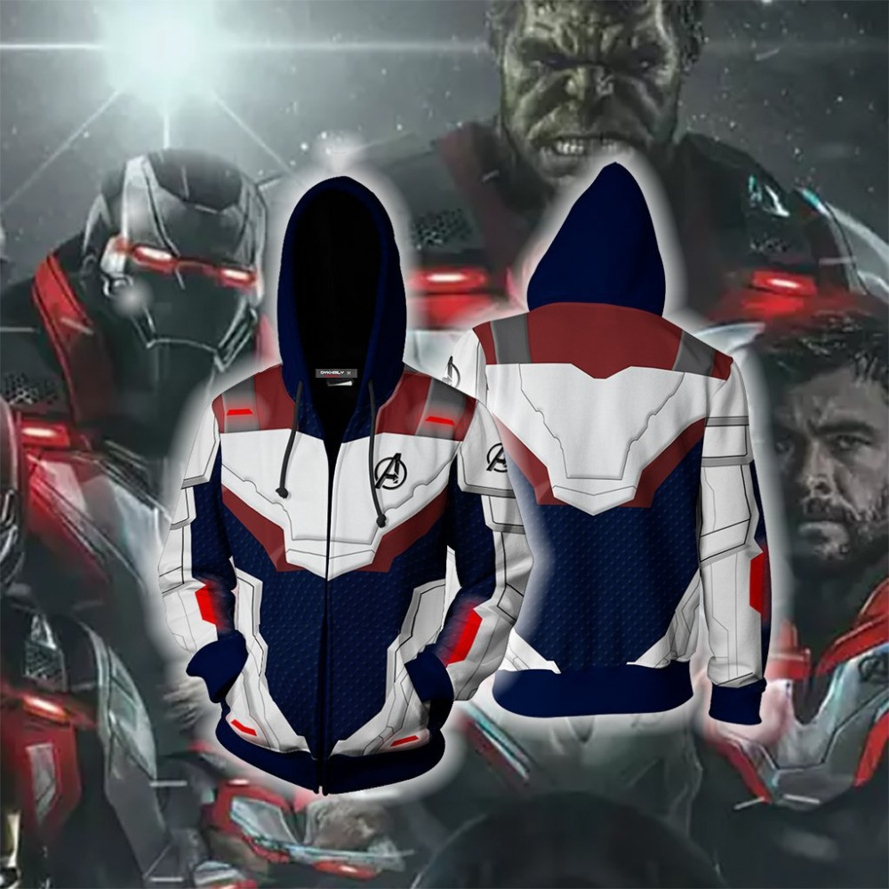 WXCTEAM Marvel The Avengers 4 Endgame Quantum Realm Cosplay Costume Hoodies Hooded Avengers Zipper End Game Sweatshirt Jacket