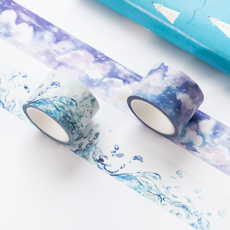 30mm*7m Sea wave White clouds Japanese Decorative Adhesive Tape Washi Tape DIY Scrapbooking Masking Tape School Office Supply 1 5cm 7m flowers fox steamer mushroom decorative washi tape scotch diy scrapbooking masking craft tape school office supply