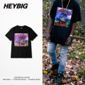 Metal Rock Fashion T-shirt Heybig Men High Street Tops HIP-HOP rap tee China Sizing S-3XL Customized clothing 50pcs