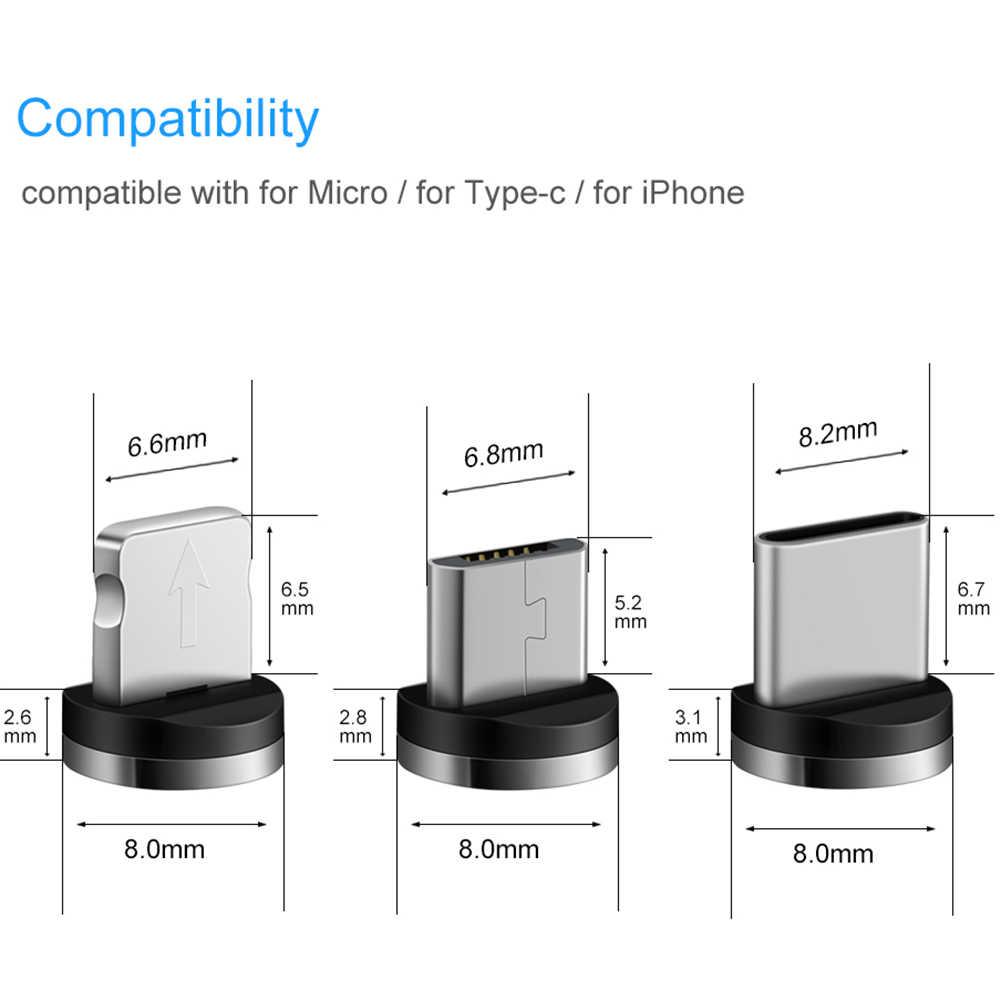 AM17 2 M ĐÈN LED Từ Cáp Sạc USB iPhone XS Max Micro Cáp USB Type C Samsung Bện Dây Cáp Điện Thoại sạc nam châm Có Dây