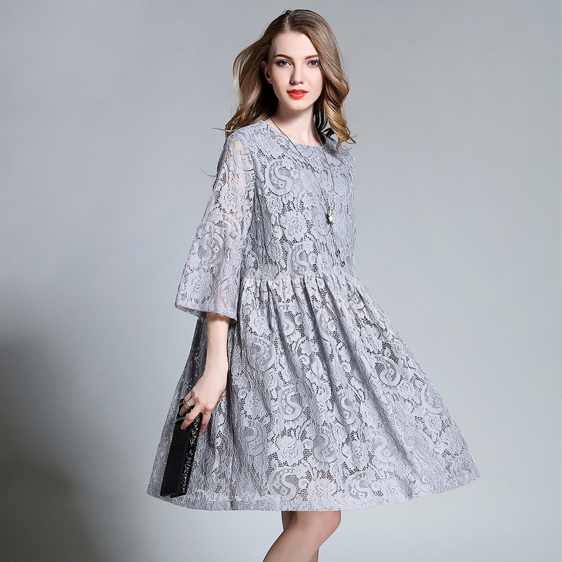 2018 European design spring autumn women floral lace dresses plus size 4XL hollow lace women pleated dress gray blue color