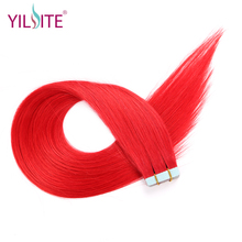 Yilite Hair 22inch Indian Human Hair Tape In Hair Extensions, Red Color High Light 5pcs/lot Silky Straight Tape Hair Extensions