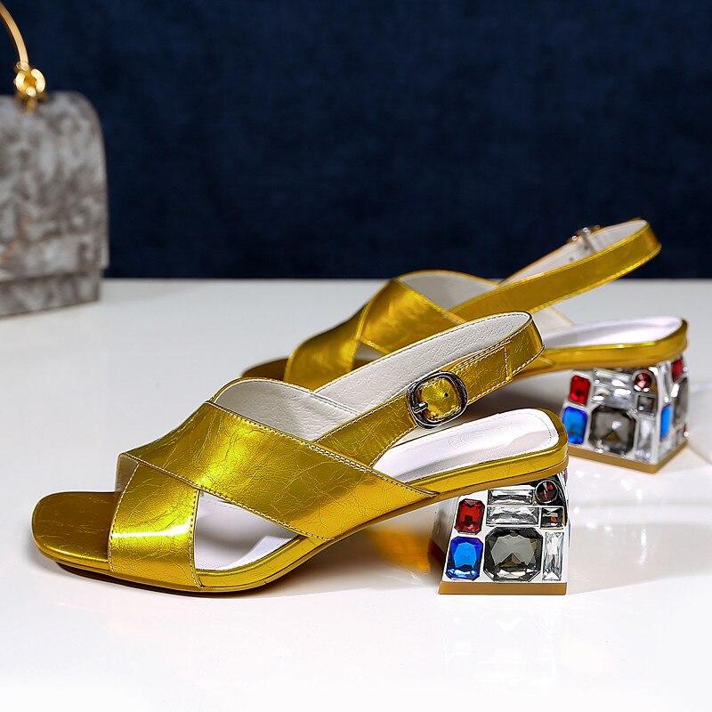 Echtem Damen Leder Große Kristall Casual Sommer Schuhe Prom Smirnova Für yellow Frauen 42 White Größe Sandalen 34 8wAxHB6nz