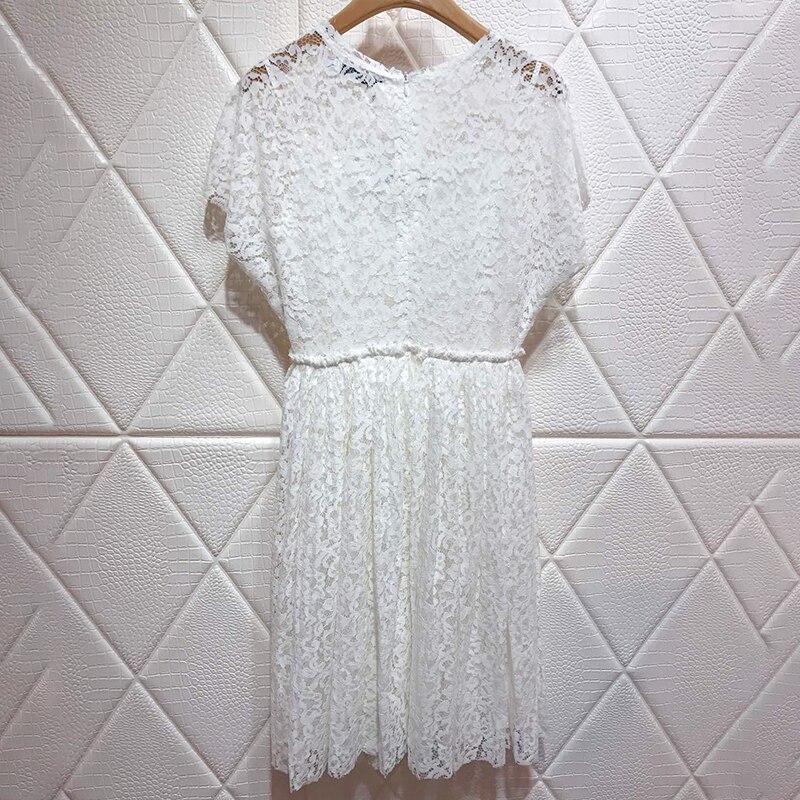Sexy Robe O Bikinis longueur Blanc Floral Brodent Avec Pour Genou Femmes Élégant Aline cou Manches Femelle White Sans Robes D'été 1RBxBfv
