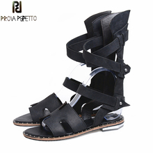 Prova Perfetto Euramerican Summer Gladiator Sandal Solid Color Hollow Out Sandals Boot Women Rivets Shoes Belt Buckle Shoes Flat