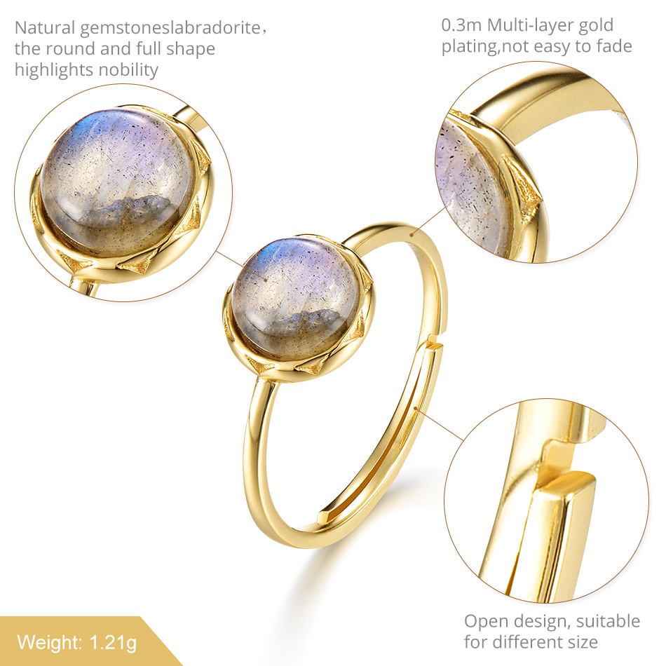 ALLNOEL 2019  Ring For Women Sterling Silver Labradorite Ring Gift On March 8  Costume Jewelry  Accessories Rings For Friends  (1)
