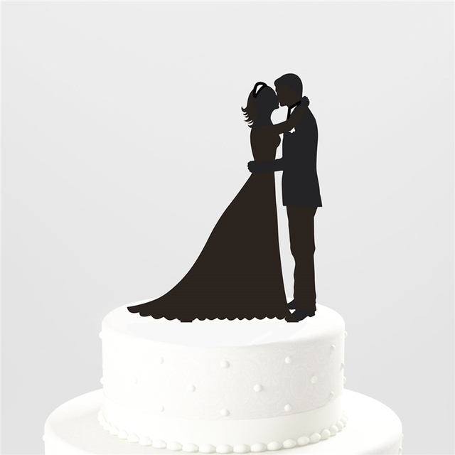 silhouette wedding cake cutters wedding decoration cake topper hug and groom 19822