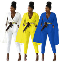Women Sexy V neck Cape Jumpsuits and Rompers Ladies Work Wear Bodysuit Party Macacao Feminino(No Belt)