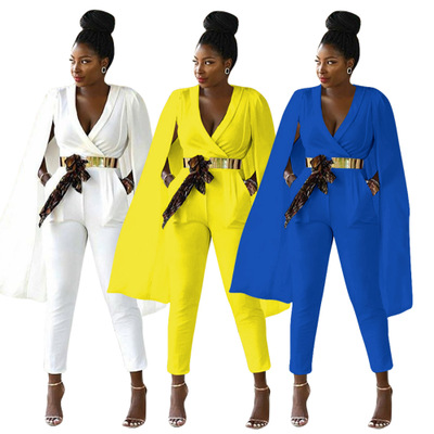 Women Sexy V-neck Cape   Jumpsuits   and Rompers Ladies Work Wear Bodysuit Party Macacao Feminino(No Belt)