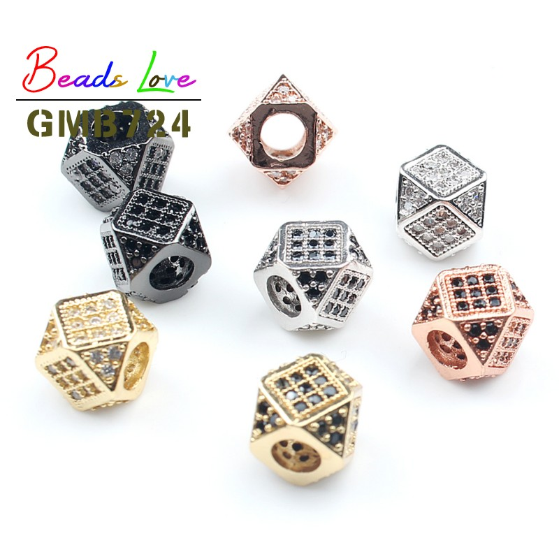 Micro Pave Metal Crystal Spacer Tube Shaped Bead for Men Bracelet DIY Jewelry Making Fashion European Style Charm Bead 8x11mm