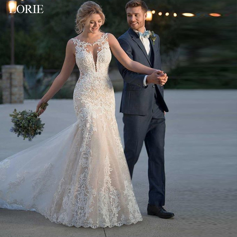 LORIE 2019 Summer Mermaid Wedding Dress Lace Appliques Bridal Gowns Lace Wedding Gowns Custom made Plus