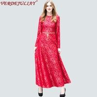 Vintage Long Dresses Women 2018 Fashion Women Spring Lace Emboridery Belt European Designed Ankle Length Top