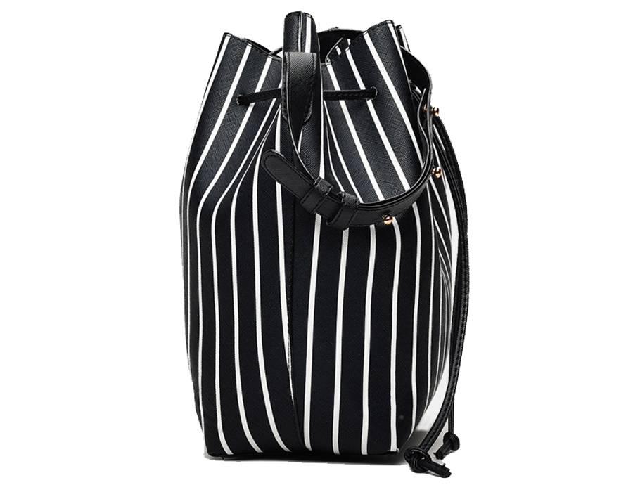 kit Conjunto Bolsa Bucket Femenina Listrada y Clutch