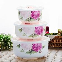 3pcs set, real bone china lunch boxes for lunch, creative flower bowl, elegent ceramic bowl, pop corn box, instant noodle bowl