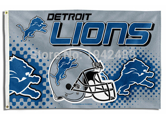 Free shipping Detroit Lions NFL flag Helmet Banner 3x5FT Digital Print Version 100D sports decoration