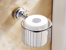 New US Free Shipping Wall Mounted Chrome Finish Ceramics Base Bathroom Toilet Roll Paper Basket Tissue