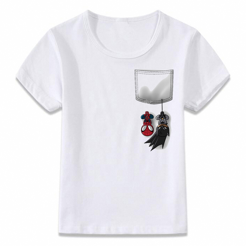 Kids Clothes T Shirt Pocket Spiderman And Batman T-shirt For Boys And Girls Toddler Shirts Tee Oal245