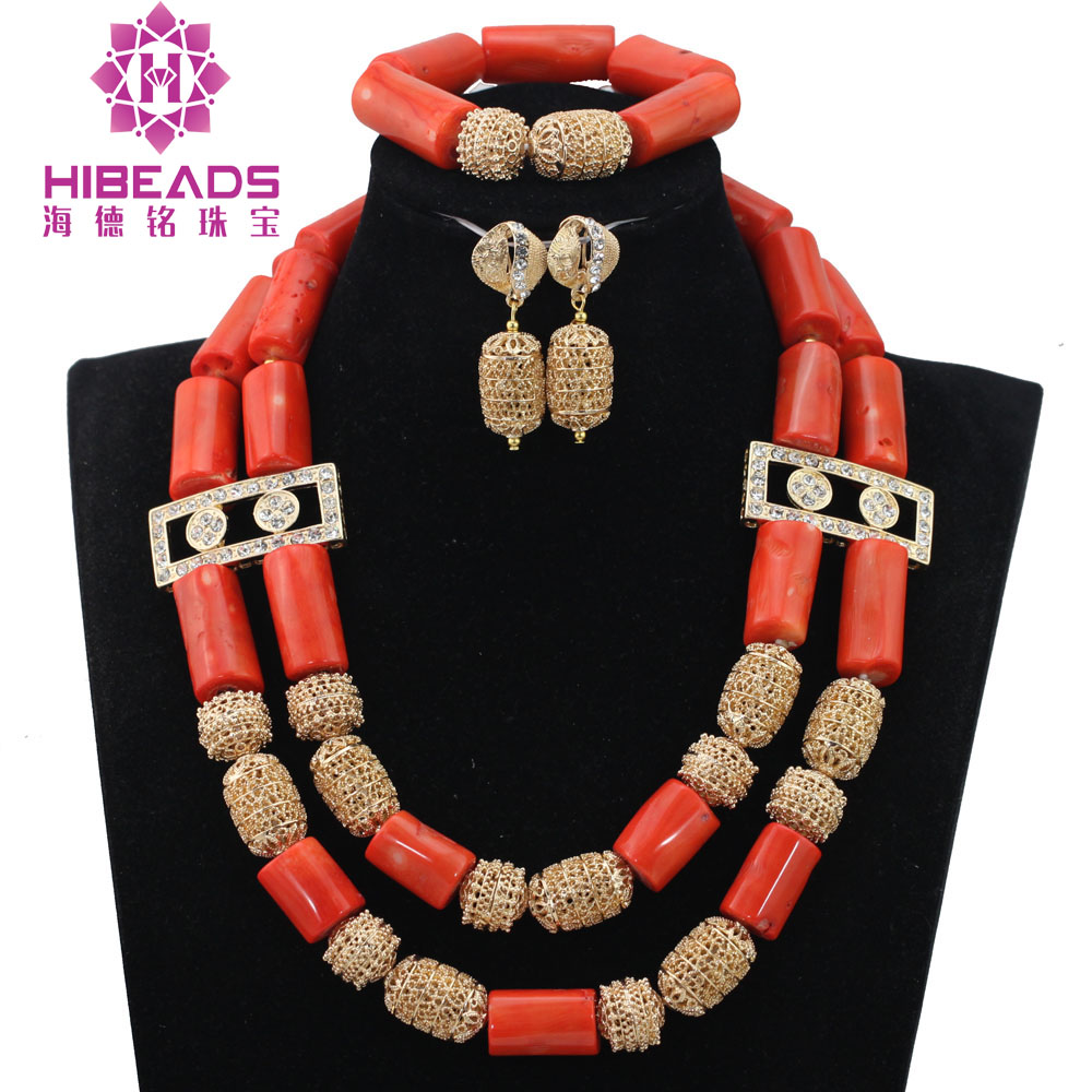 Women Coral Costume Jewelry Set Dubai Gold Bridal Statement Coral Necklace Set African Party Jewelry Beads Free Shipping QW1195 hot red statement choker necklace african wedding beads for women set dubai costume bridal lace jewelry set free shipping abf550