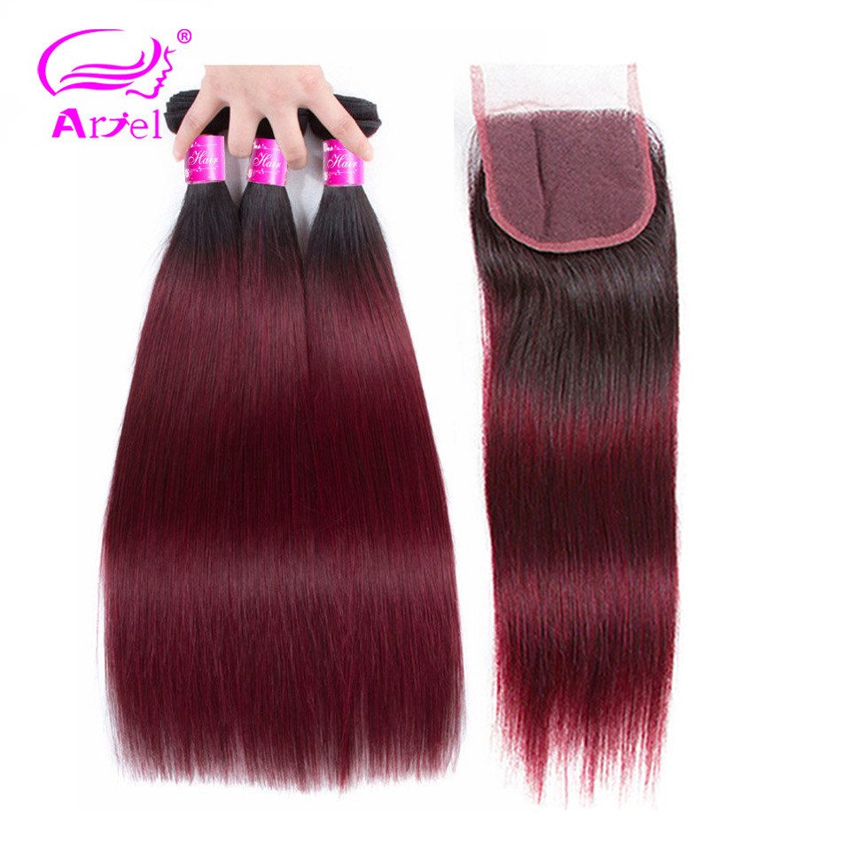 ARIEL Ombre Burgundy Hair 3 Bundles With Lace Closure 1B 99J Burgundy Wine Red Two Tone