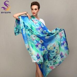 Image 4 - 2016 zima moda damska szalik gorąca sprzedaż jedwab szale szal kobiet długi jedwabny szal niebieski i kawy 180*110cm