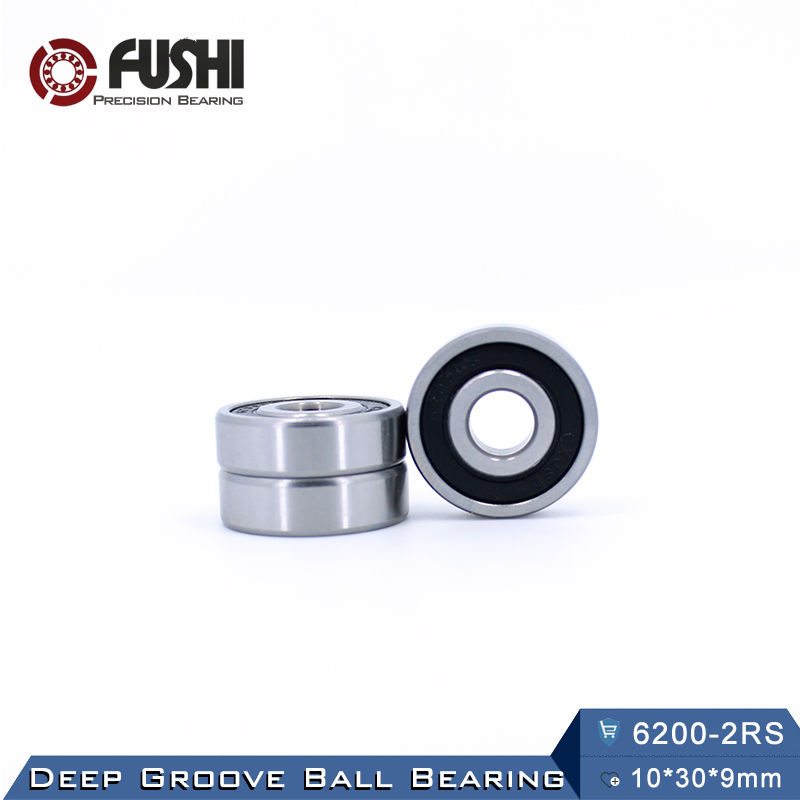 6200RS Bearing ABEC-3 (8 PCS) 10x30x9 mm Deep Groove 6200-2RS Ball Bearings 6200RZ 180200 RZ RS 6200 2RS EMQ Quality best price 10 pcs 6901 2rs deep groove ball bearing bearing steel 12x24x6 mm
