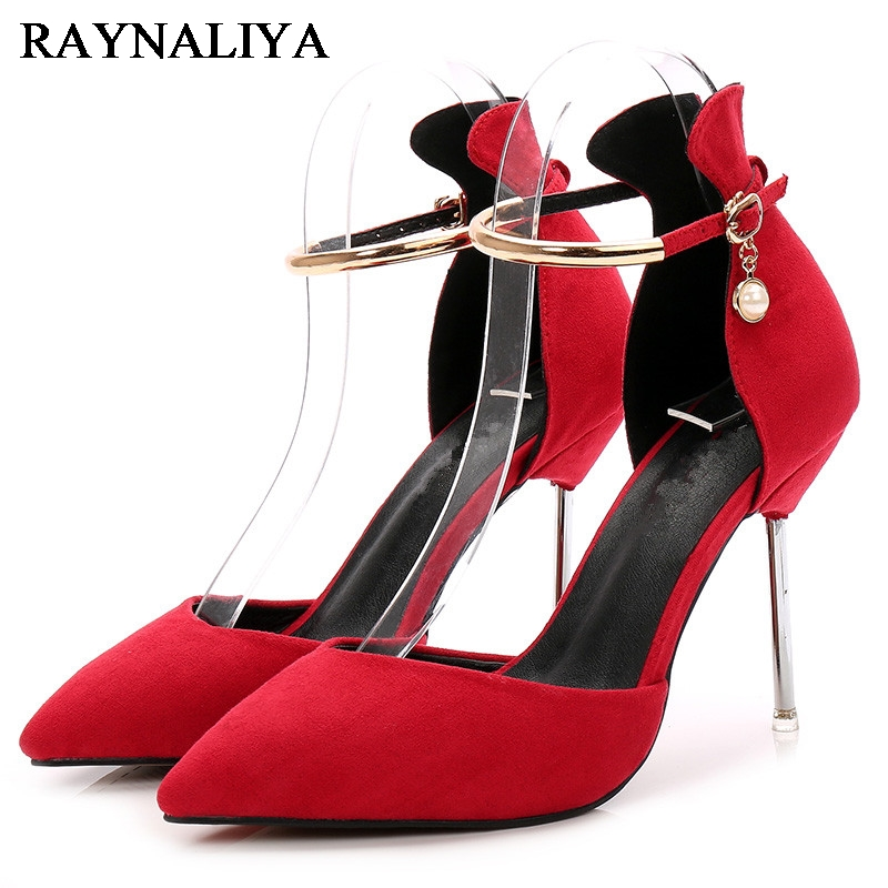 Ladies Nubuck Leather Pumps Plus Size Womens Fashion Ankle Strap Sandals Summer Red Black Kid Suede High Heels Shoes WZ-A0015 egonery quality pointed toe ankle thick high heels womens boots spring autumn suede nubuck zipper ladies shoes plus size