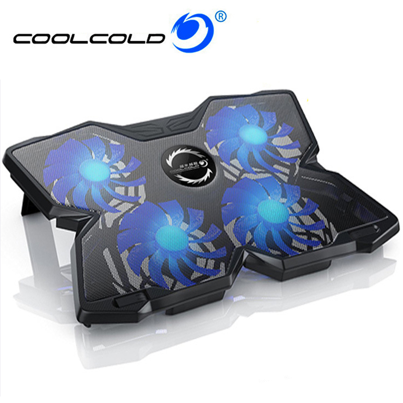 COOLCOLD 12-17 Inch Laptop Cooling Pad 4 Fans USB Laptop Cooler Notebook Stand LED Base for Gaming Daily Use серьги коюз топаз серьги т301025889