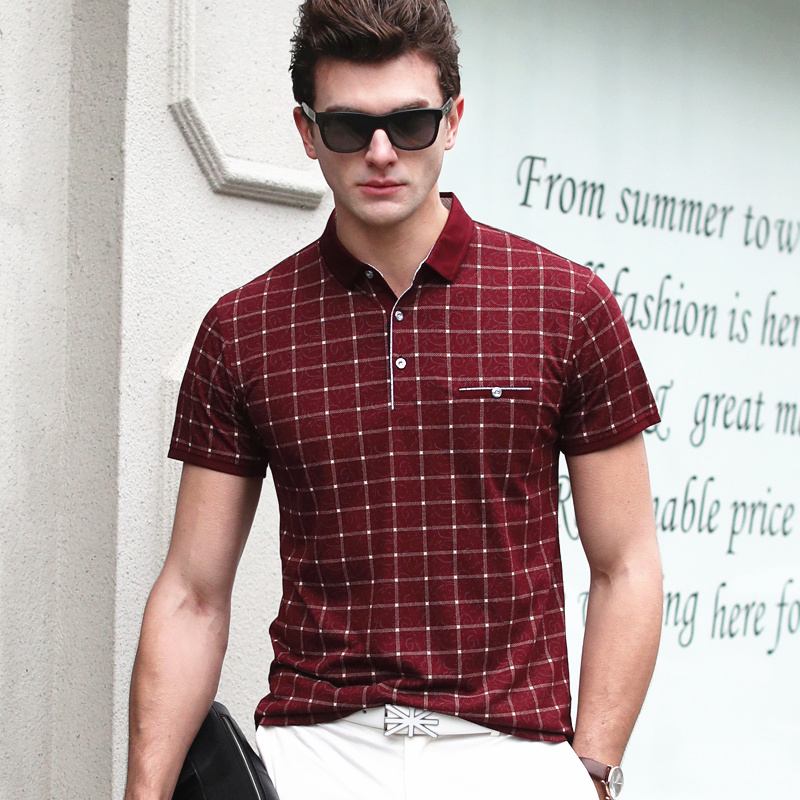 2017 Summer Men Polo Shirts Plaid Patchwork Short Sleeve Cool Mercerized Cotton Slim Fit Casual Business