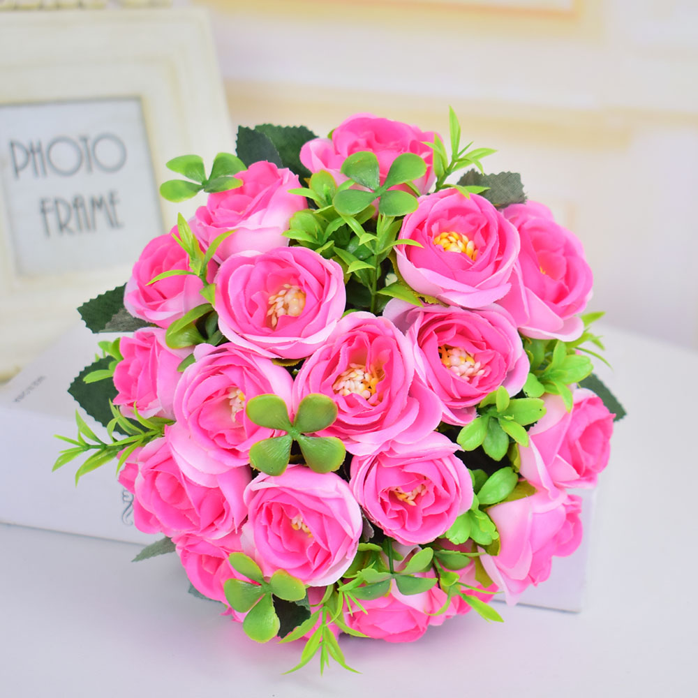 Small Silk roses artificial flowers wedding bridal bouquets mariage ...