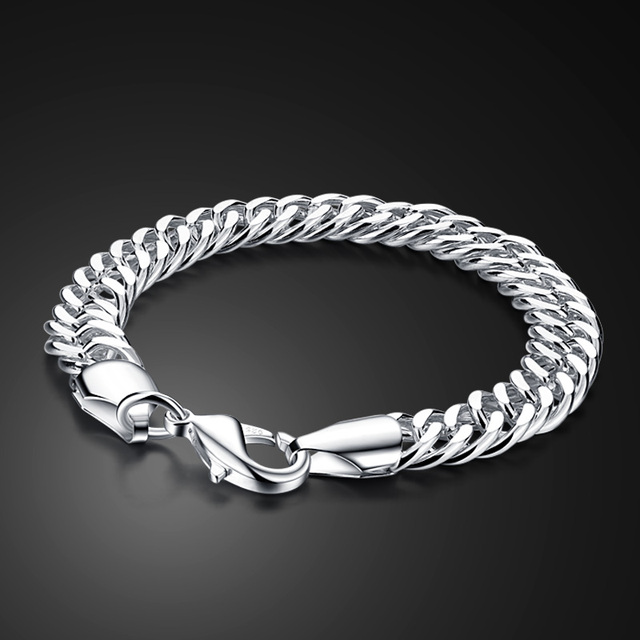 b8776894c3d28c Fashion Solid design 925 sterling silver bracelet jewelry Pure silver 10MM  20cm men/boy bracelet Snake Chain ICONS Handsome man