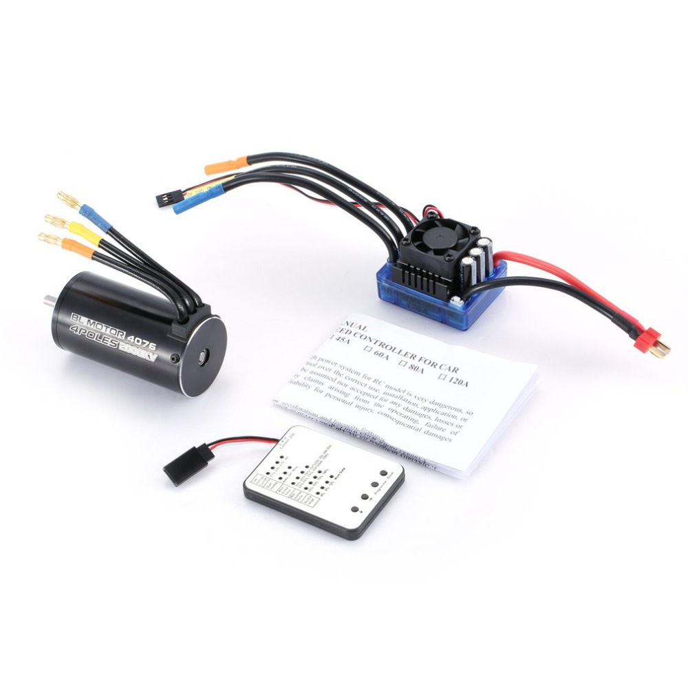 4076 2000KV 4 poles Sensorless Brushless Motor 120A ESC with LED Programming Card Combo Set for 1/8 RC Car Truck